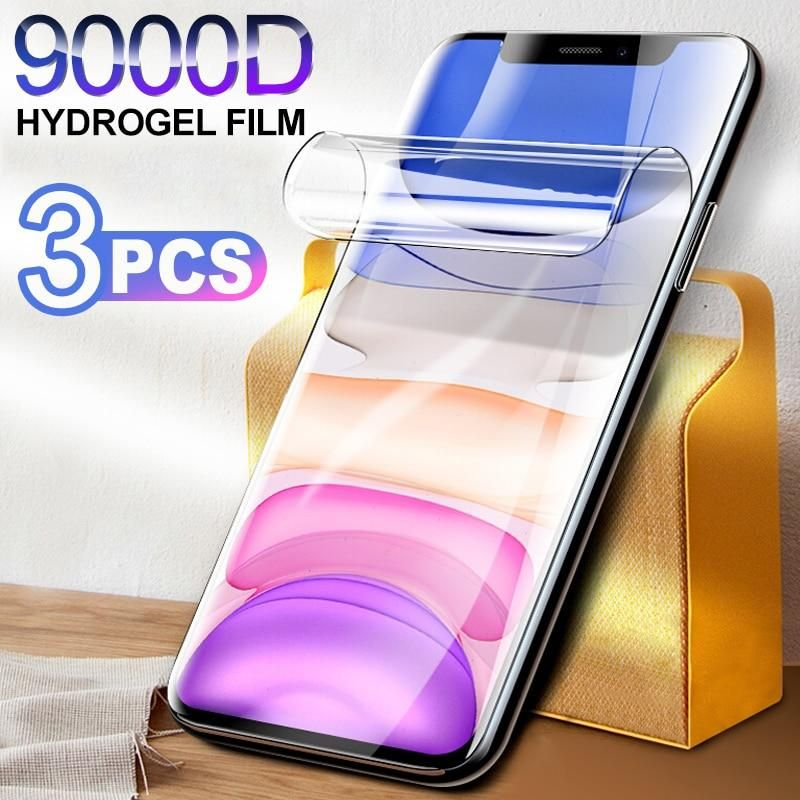 Hydrogel Film Screen Protector For iPhone 11 12 Pro X Xr XS Max Soft Protective Film For iPhone SE 6 7 8 Plus Screen protector - For iPhone SE 2020 / 3Pcs of film
