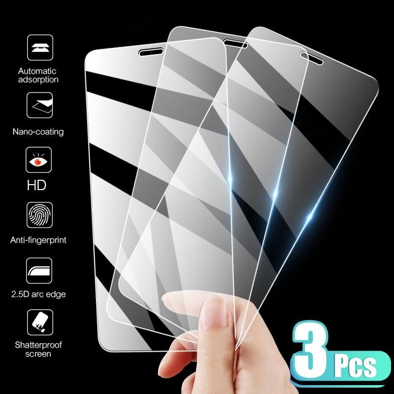 3PCS Full Cover Tempered Glass On the For iPhone 7 8 6 6s Plus X Screen Protector On iPhone X XR XS MAX SE 5 5s 11 12 Pro Glass - For iPhone SE 2016 / 3 Pcs Glass